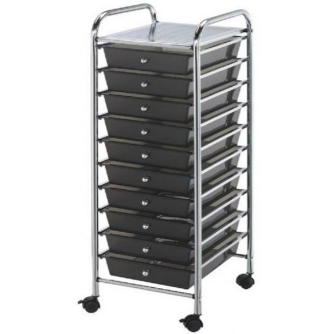 Black Ten Drawer Cart