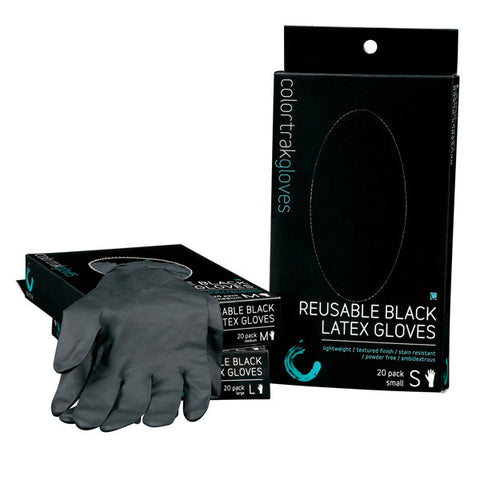 ColorTrak Gloves Reusable Black Latex Gloves
