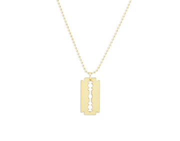 MD Razor Blade Necklace W/ Ball Chain and Key Ring (GOLD)