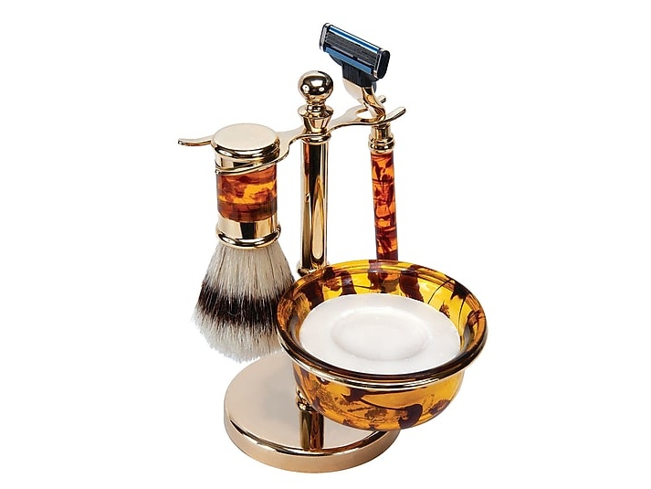 Kingsley Men's Mock Tortoise Shave Set with Natural bristle, razor and bowl with soap on a stand