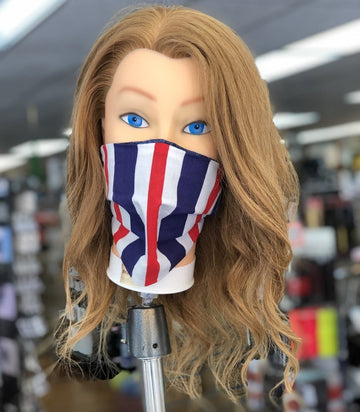 Reusable Red, White, & Blue Cloth Face Mask With MERV 14/90-95 Filter