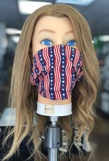 Reusable Patriotic Cloth Face Mask With MERV 14/90-95 Filter