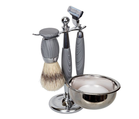 Kingsley for Men 5-Piece Classic Shave Set in Wood/Chrome