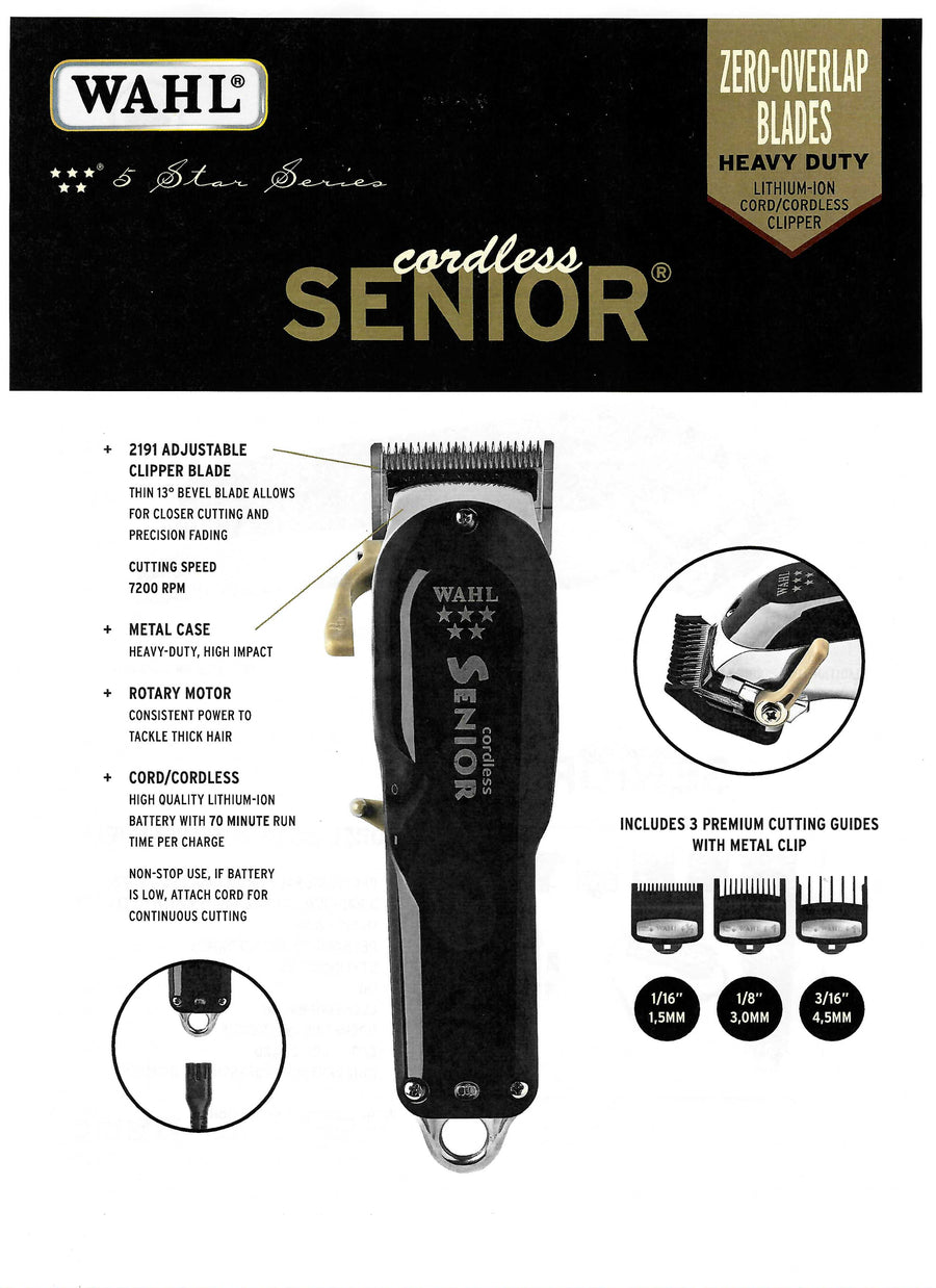 Wahl 5-Star Cordless Senior Clipper Barber Supply