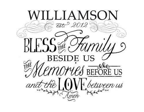 Bless the Family Personalized Insert