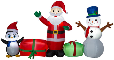 9' Wide Airblown Santa Snowman and Penguin Collection Christmas Inflatable