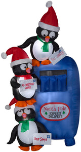 6' Airblown Penguins at Mailbox Scene Christmas Inflatable