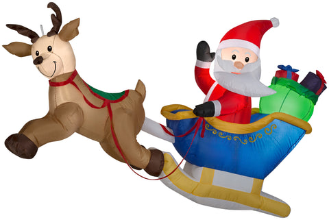 6' Wide Airblown Hanging Santa and Reindeer Scene Christmas Inflatable
