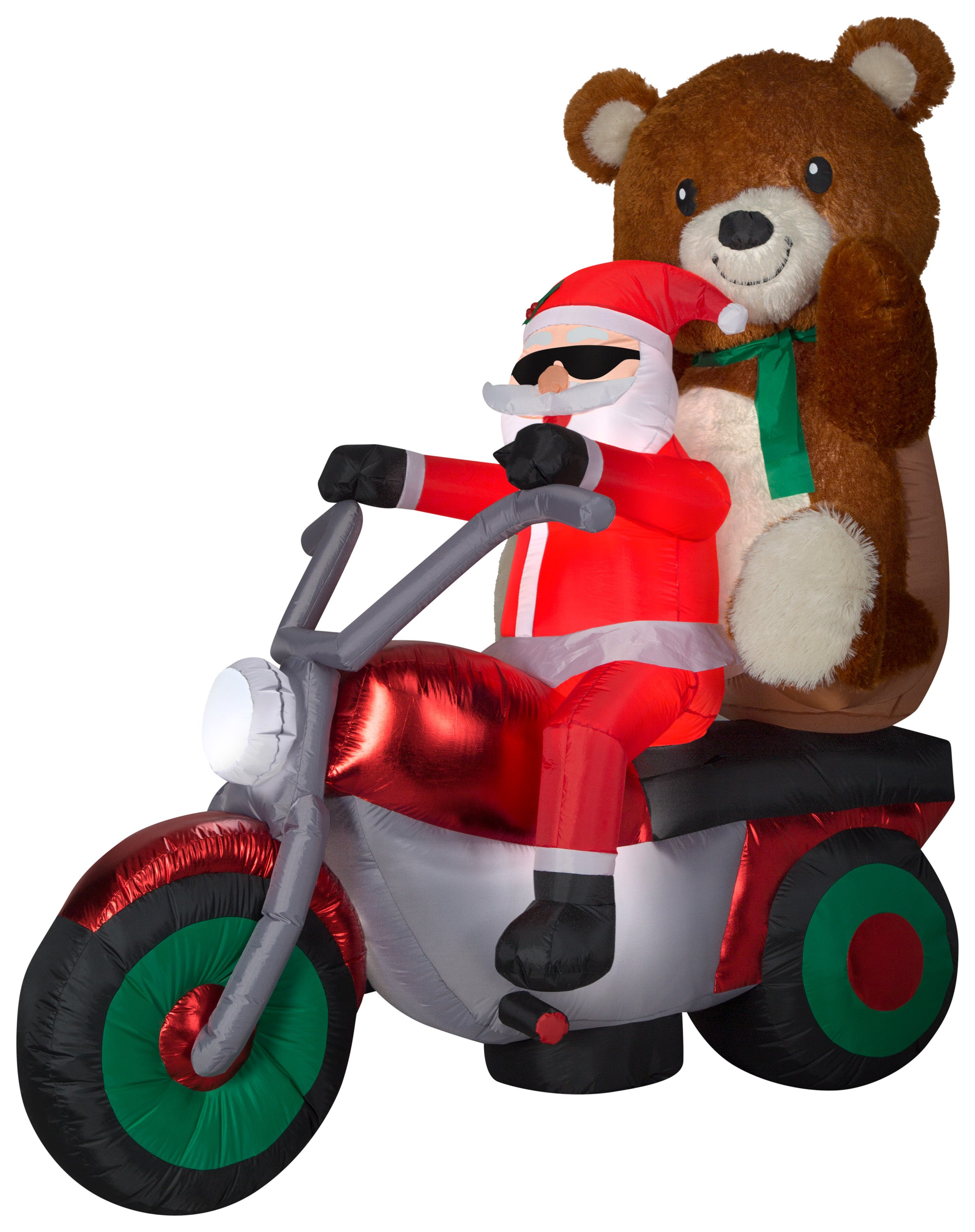 6.5' Airblown Mixed Media Santa w/ Teddy Bear on Motorcycle Scene Christmas Inflatable
