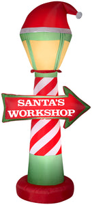 7' Airblown Santa's Workshop Lamp Post Christmas Inflatable