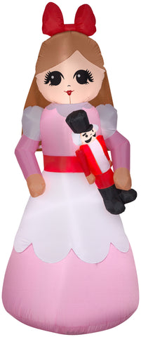 7' Airblown Nutcracker Clara Christmas Inflatable