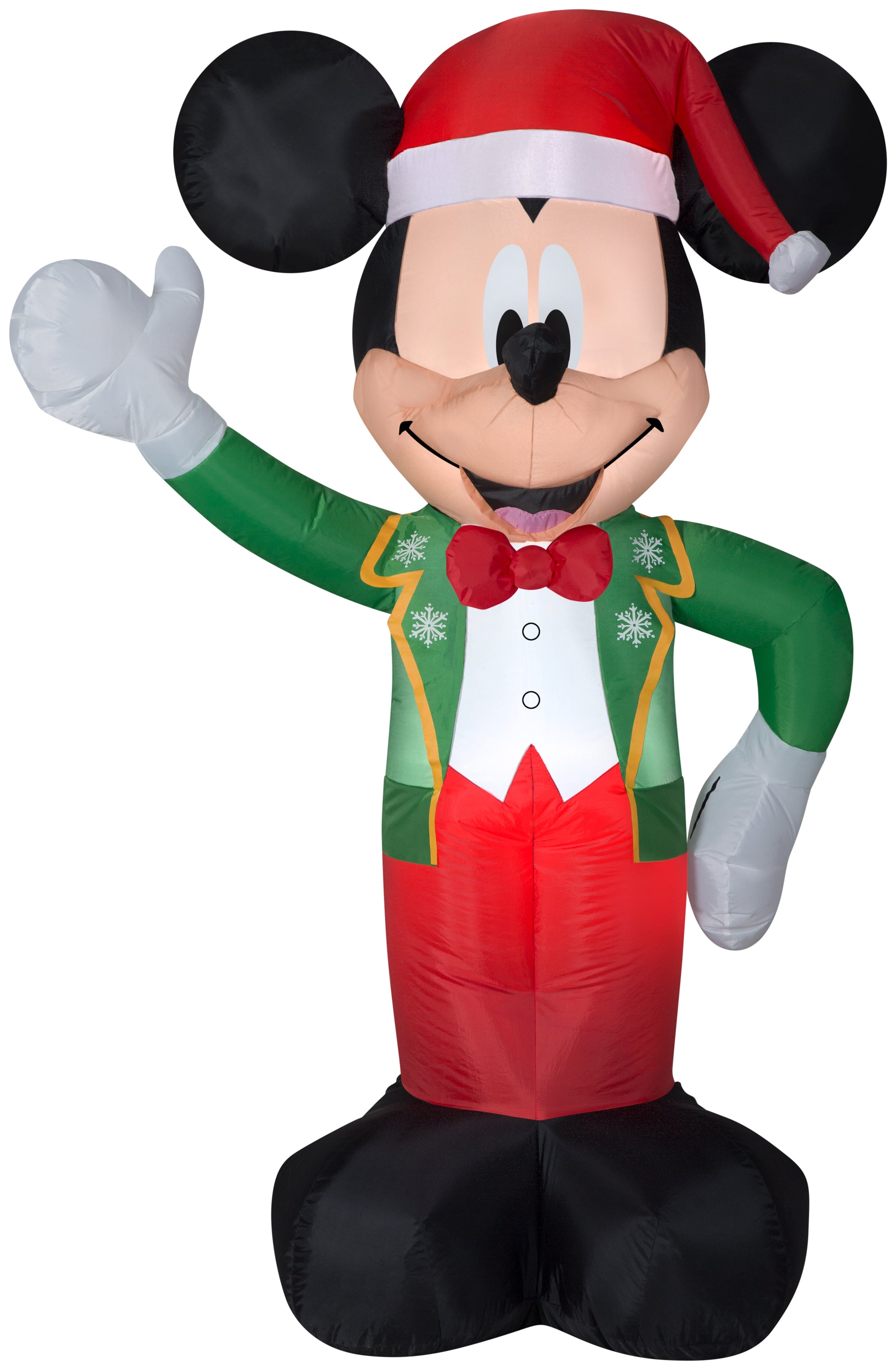 5' Airblown Mickey in Green/Red Winter Outfit Disney Christmas Inflatable