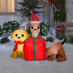 Gemmy 5' Airblown Inflatable Present Puppies Scene