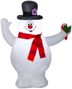 3.5' Airblown Frosty w/Scarf and Holly Berry Candy Cane Christmas Inflatable