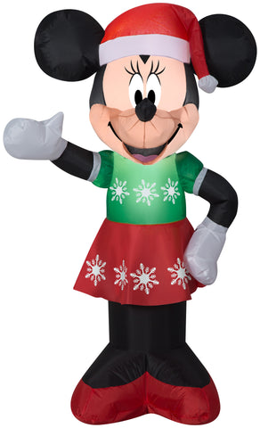 3.5' Airblown Minnie Mouse in Snowflake Dress Disney Christmas Inflatable