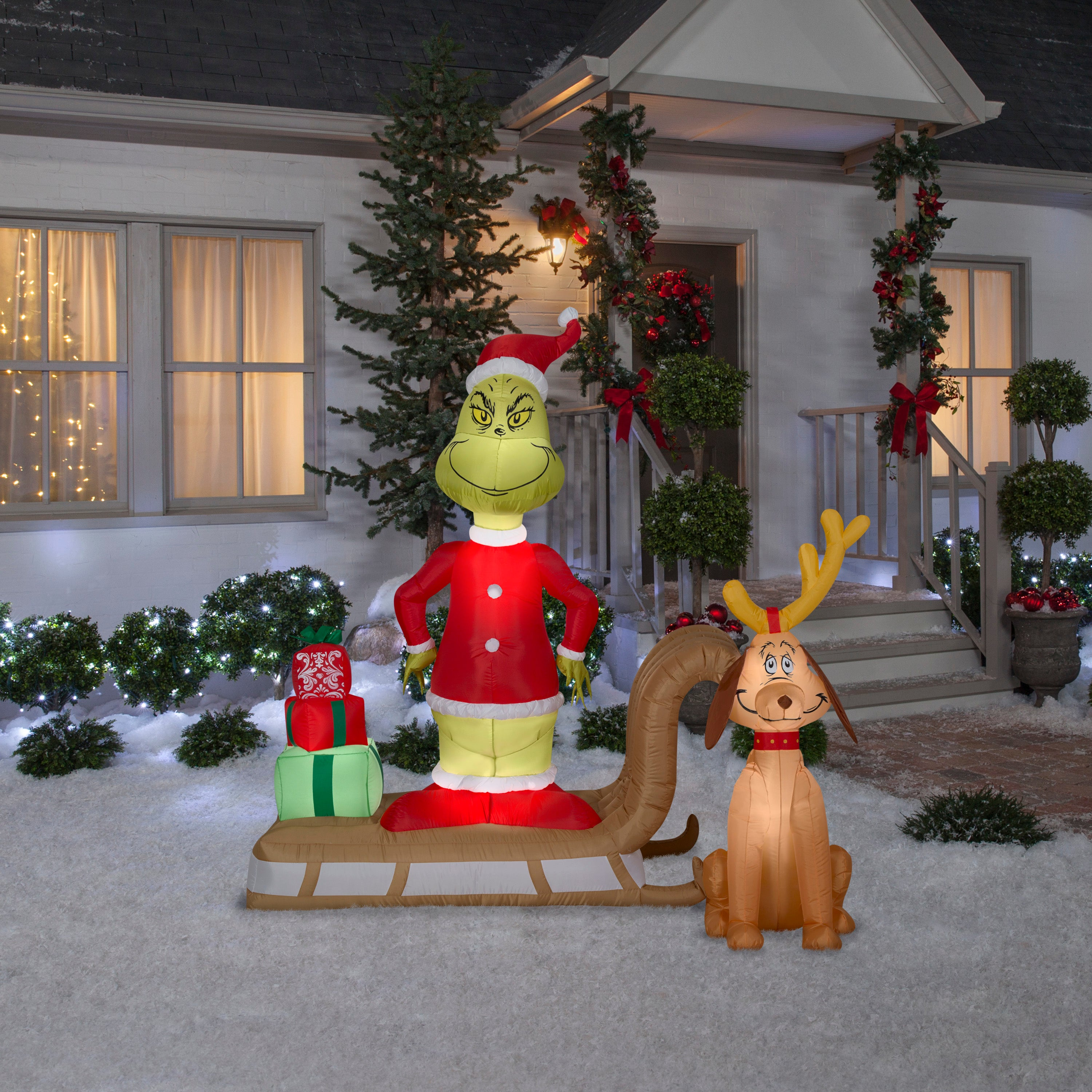 6' Airblown-Grinch and Max on Sled Christmas Inflatable