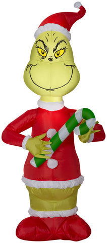4' Airblown Grinch w/Candy Cane Grinch Christmas Inflatable