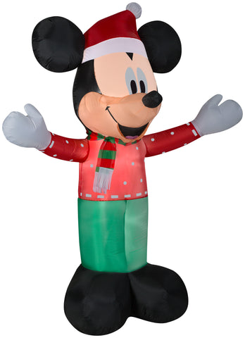 6' Airblown-Mickey w/Christmas Party Outfit Disney Christmas Inflatable