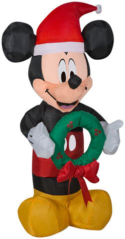 3.5' Disney Airblown Mickey Mouse Holding Wreath Christmas Inflatable