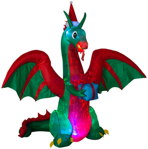 8' Projection Airblown Kaleidoscope Dragon w/ Flaming Mouth and Present Christmas Inflatable
