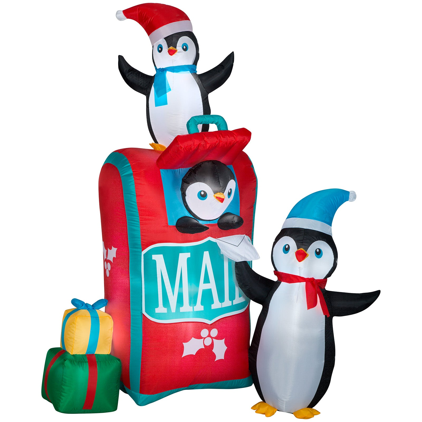 6.5' Airblown-Mailbox w/Penguins Scene Christmas Inflatable