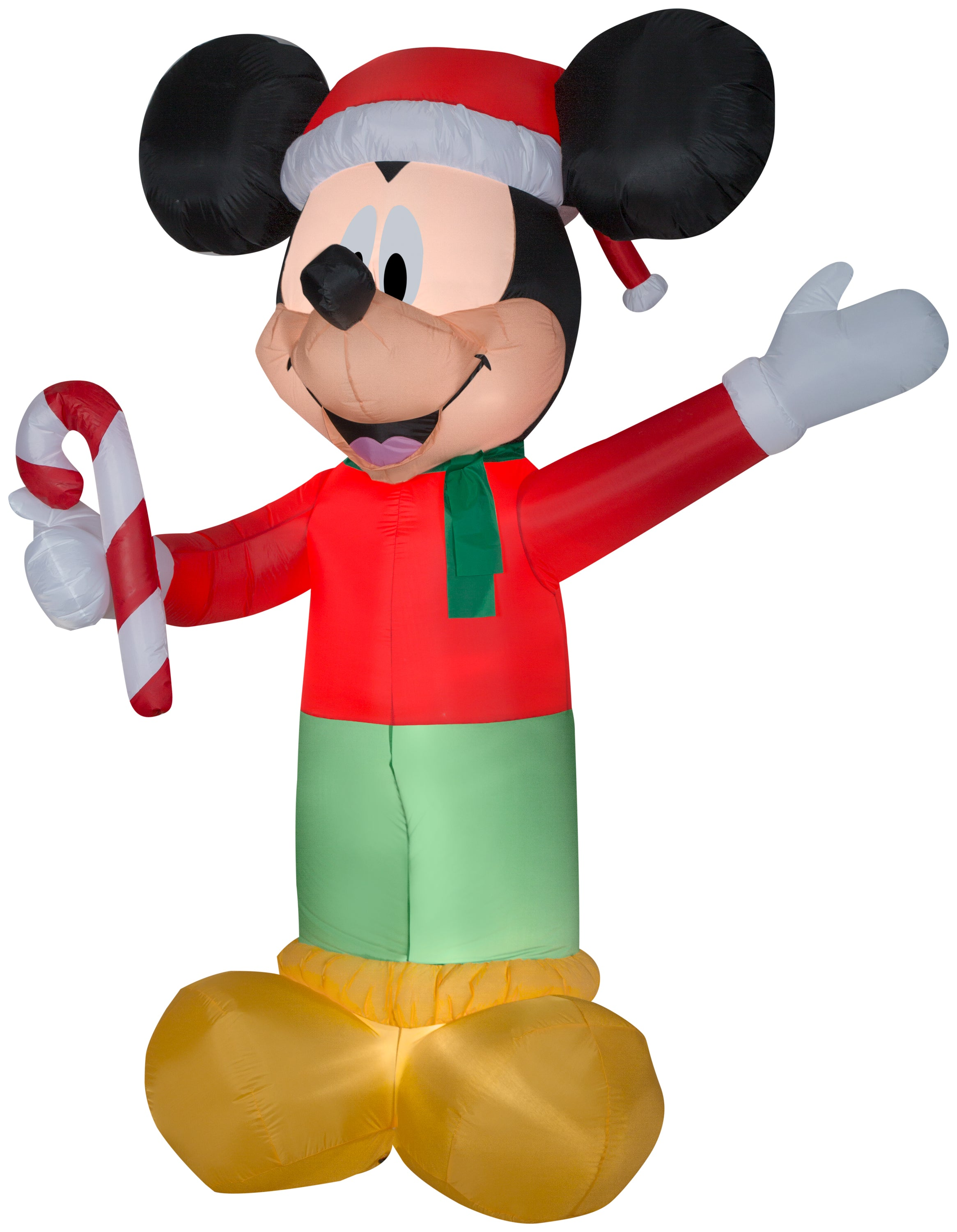 9' Airblown Mickey w/Candy Cane Disney Christmas Inflatable