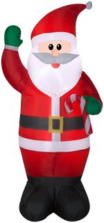 Load image into Gallery viewer, 6.5' Airblown Santa Holding a Candy Cane Christmas Inflatable