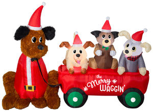 Gemmy Christmas Airblown Inflatable Mixed Media Wagon Full of Puppies Scene w/LED, 5 ft Tall