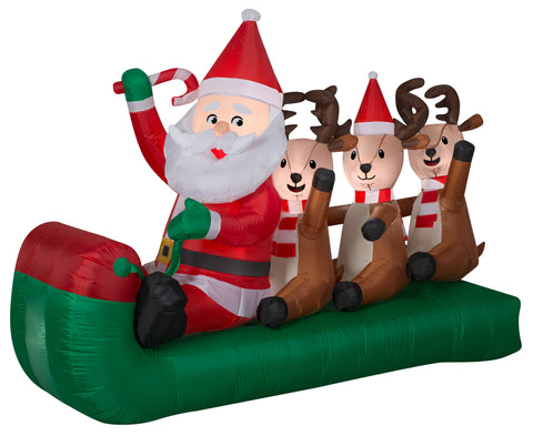 6.5' Wide Airblown Santa Sledding w/Reindeer Scene Christmas Inflatable