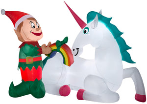 7' Airblown Unicorn and Elf Scene Christmas Inflatable