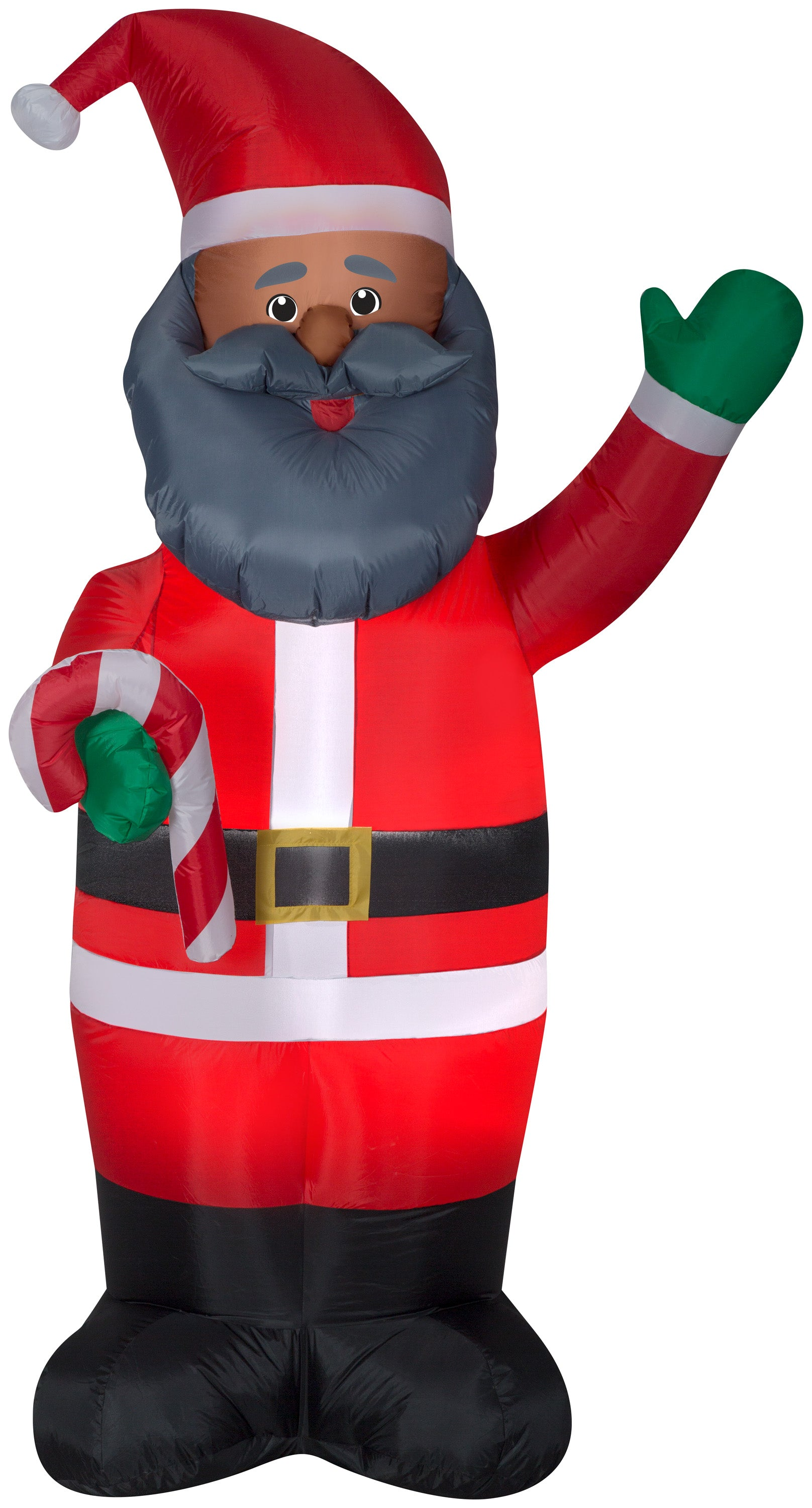 7' Airblown African American Santa w/Candy Cane Christmas Inflatable