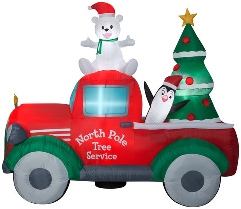 9' Wide Airblown North Pole Tree Service Truck Scene Christmas Inflatable