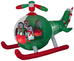 9' Wide Animated Airblown Penguin Helicopter Scene Christmas Inflatable