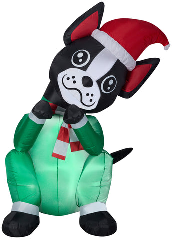 6' Animated Airblown Begging Dog Boston Terrier Christmas Inflatable