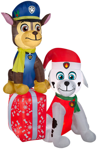 7' Airblown Paw Patrol Nick on Presents Christmas Inflatable