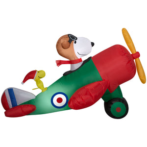 Gemmy Christmas Airblown Inflatable 4.5' Snoopy in Airplane Scene