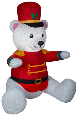 7' Airblown Mixed Media Nutcracker Bear Christmas Inflatable