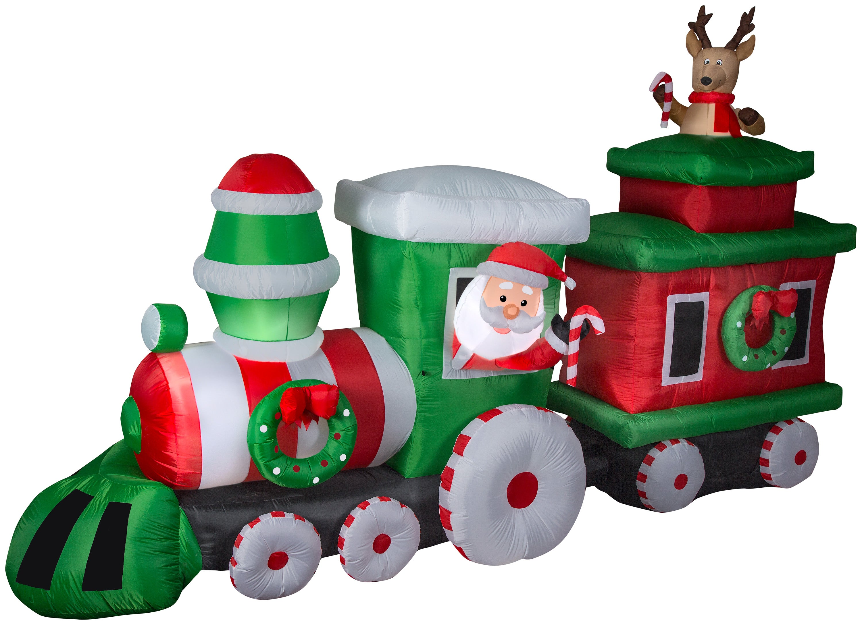 14' Wide Airblown Santa in Train w/Caboose Colossal Christmas Inflatable