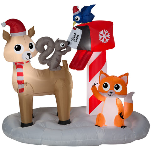 6' Wide Airblown Woodland Creatures Mailing Letter to Santa Scene Christmas Inflatable