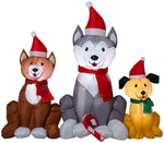 Load image into Gallery viewer, Gemmy 4' Airblown Inflatable Christmas Dog Trio Scene