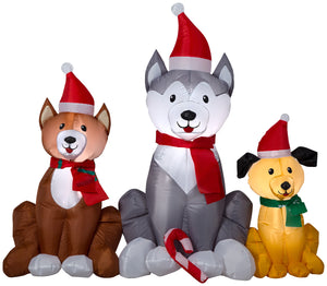 Gemmy 4' Airblown Inflatable Christmas Dog Trio Scene