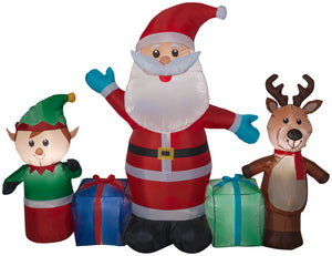 6.5' Long Airblown Santa/Reindeer/Elf Scene Christmas Inflatable