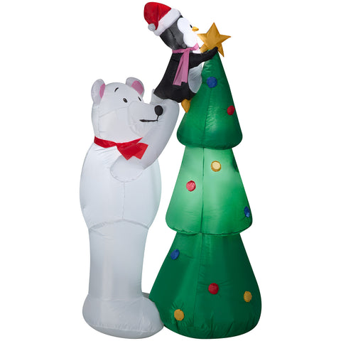 5' Airblown-Polar Bear & Penquin Decorating Tree Scene