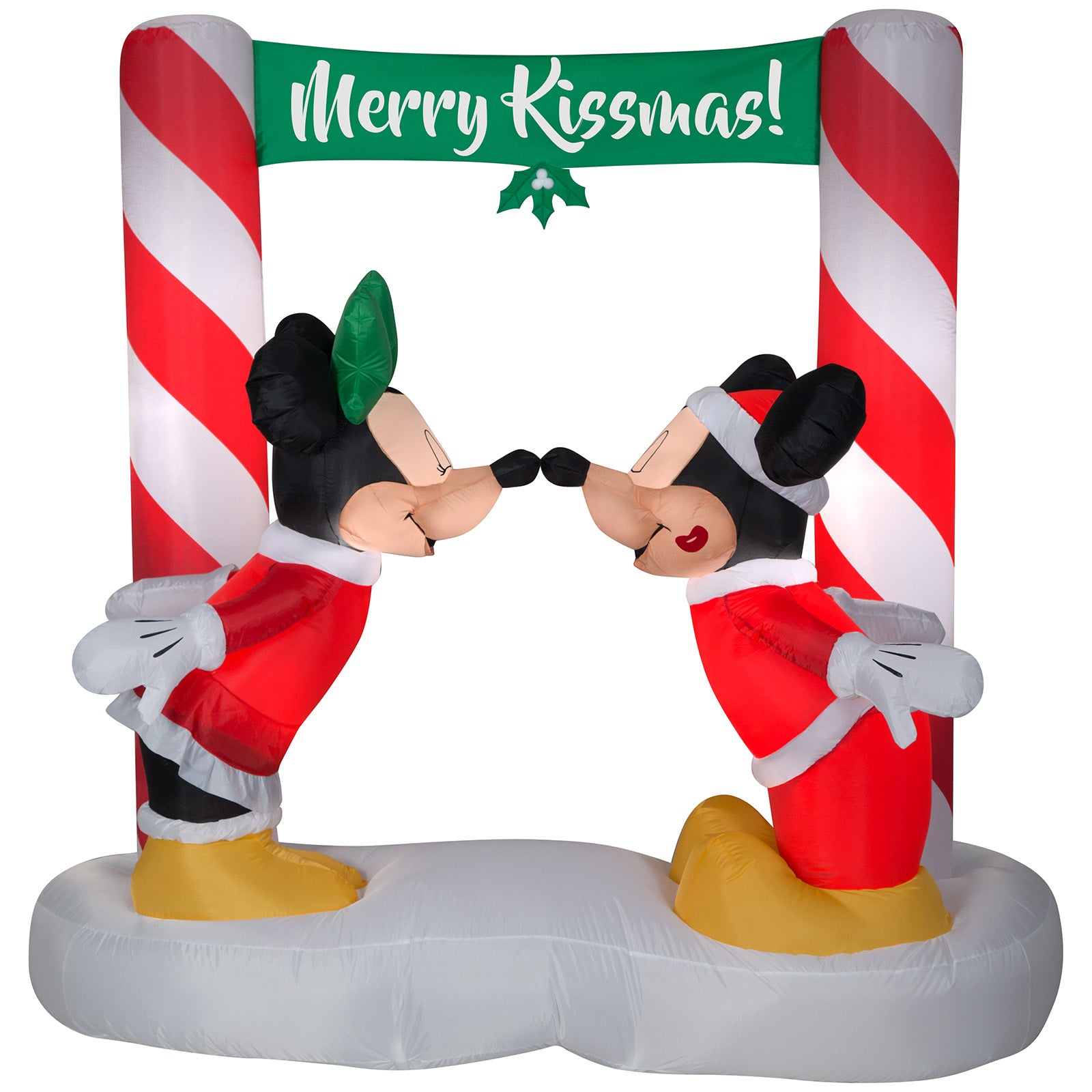 5.5' Airblown-Mickey & Minnie Kissing Under Mistletoe Banner Scene Disney Christmas Inflatable
