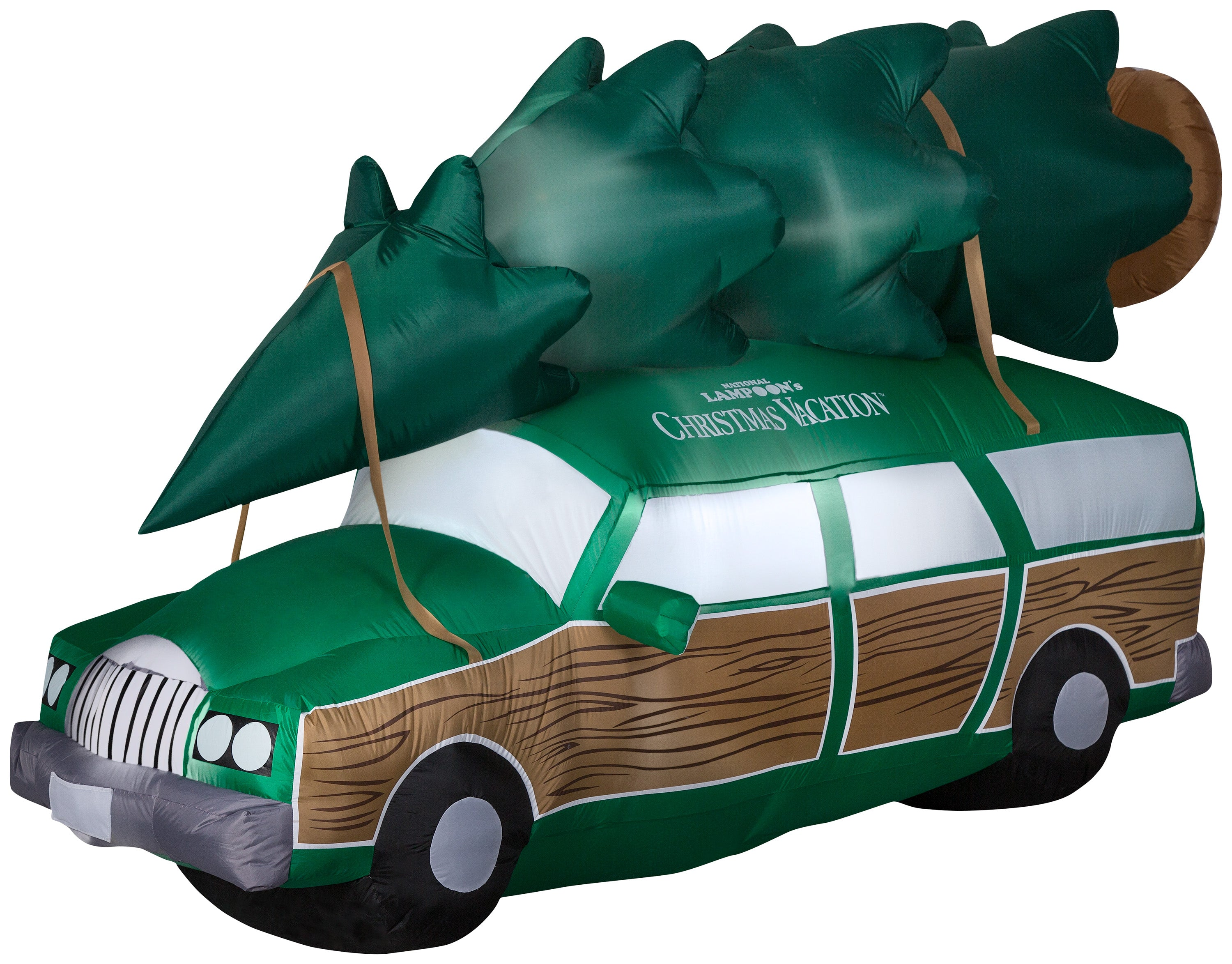 Gemmy Christmas Airblown Inflatable NLCV Station Wagon w/Tree w/LEDs Scene WB, 5 ft Tall, green