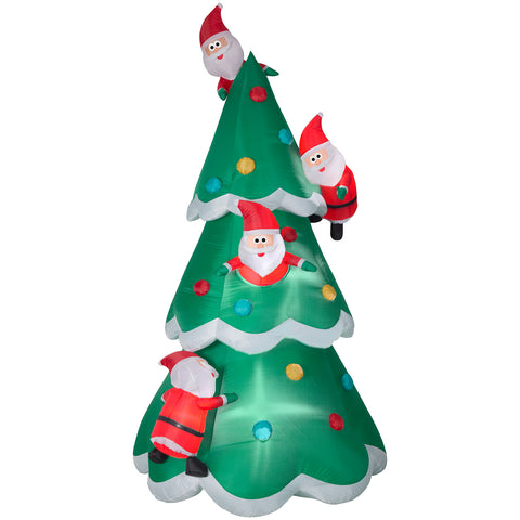 9' Airblown Christmas Tree of Many Santas Scene Christmas Inflatable