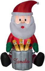 Load image into Gallery viewer, 5.5' Animated Airblown Chef Santa w/ Pop Up Tamales Christmas Inflatable