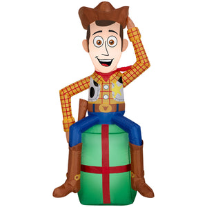 3.5' Toy Story Airblown Woody on Present Disney Christmas Inflatable