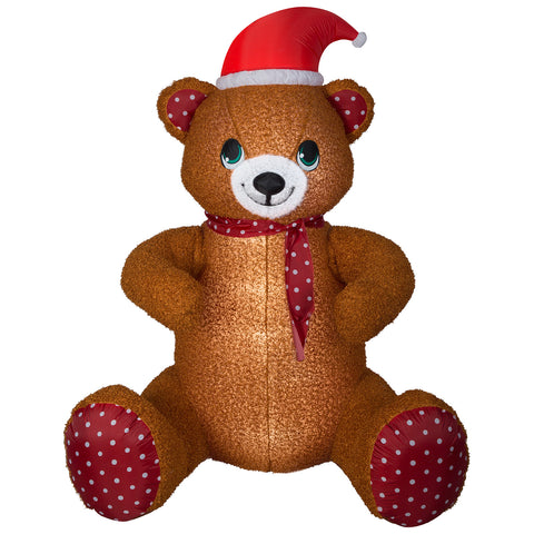 6.5' Animated Airblown-Mixed Media-Hugging Teddy Bear Giant Christmas Inflatable