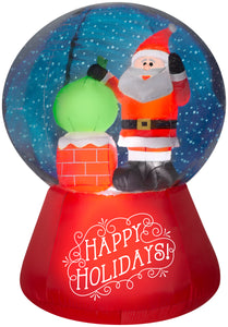 Gemmy 5.5' Projection Airblown Snowflurry Snow Globe Santa On The Rooftop Scene